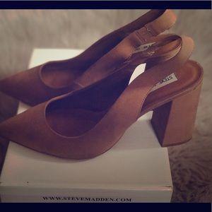 Camel/Nubuck Slingbacks block heel